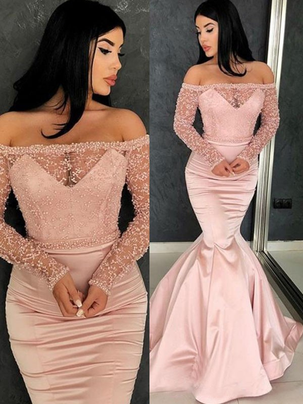 Stylish Trumpet/Mermaid Long Sleeves Off-the-Shoulder Sweep/Brush Train Ruffles Satin Dresses