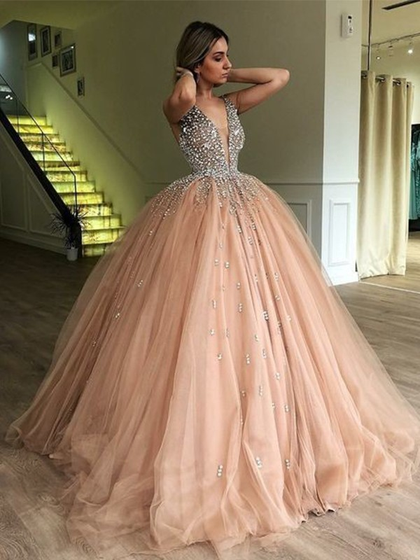 Stylish Ball Gown V-neck Sleeveless Sweep/Brush Train With Beading Tulle Dresses
