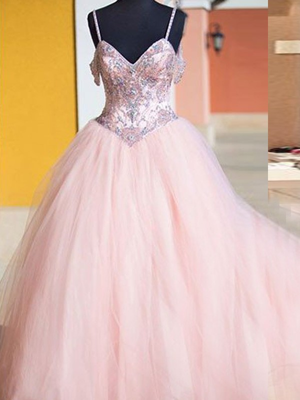 Stylish Ball Gown Spaghetti Straps Sleeveless Tulle Crystal Floor-Length Dresses