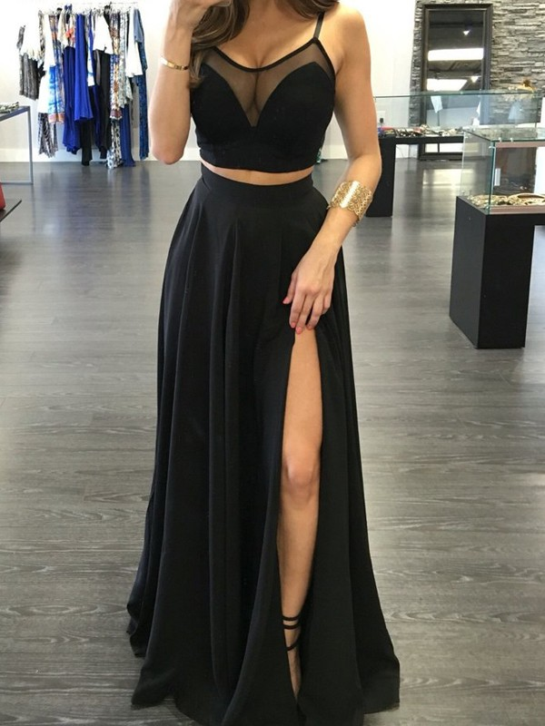 Stylish A-Line/Princess Straps Sleeveless Spaghetti Floor-Length Chiffon Two Piece Dresses