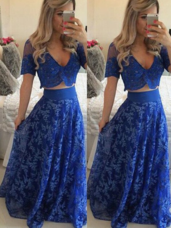 Fashion A-Line/Princess Short Sleeves Floor-Length V-neck Lace Two Piece Dresses