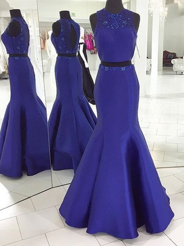 Stylish Trumpet/Mermaid Scoop Floor-Length Sleeveless Beading Satin Two Piece Dresses