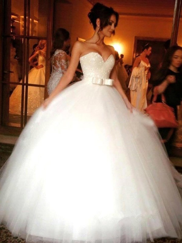 Fashion Ball Gown Sweetheart Tulle Bowknot Sleeveless Floor-Length Wedding Dresses