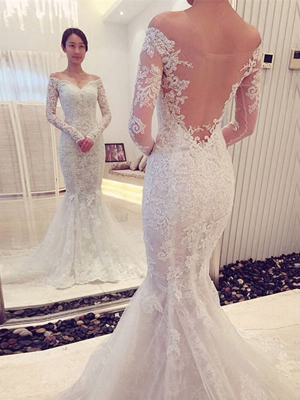 Fashion Trumpet/Mermaid Long Sleeves Lace Off-the-Shoulder Chapel Train Wedding Dresses
