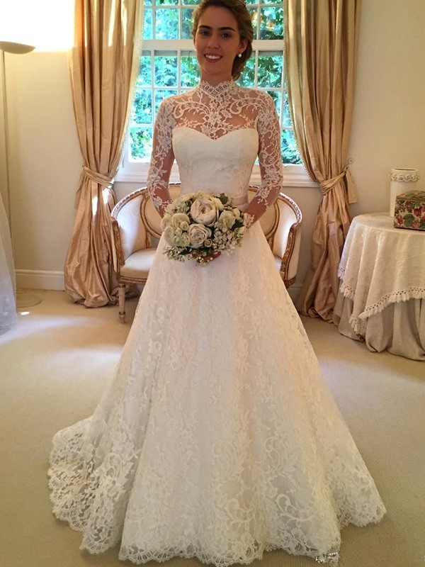 Stylish Ball Gown Long Sleeves Lace High Neck Court Train Wedding Dresses