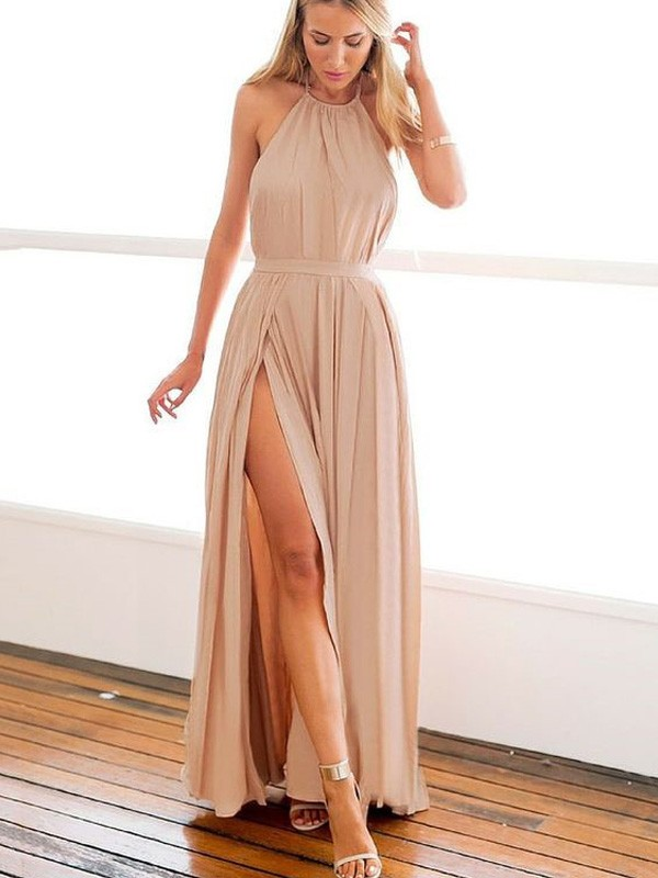 Stylish A-Line/Princess Sleeveless Floor-Length Halter Chiffon Dresses
