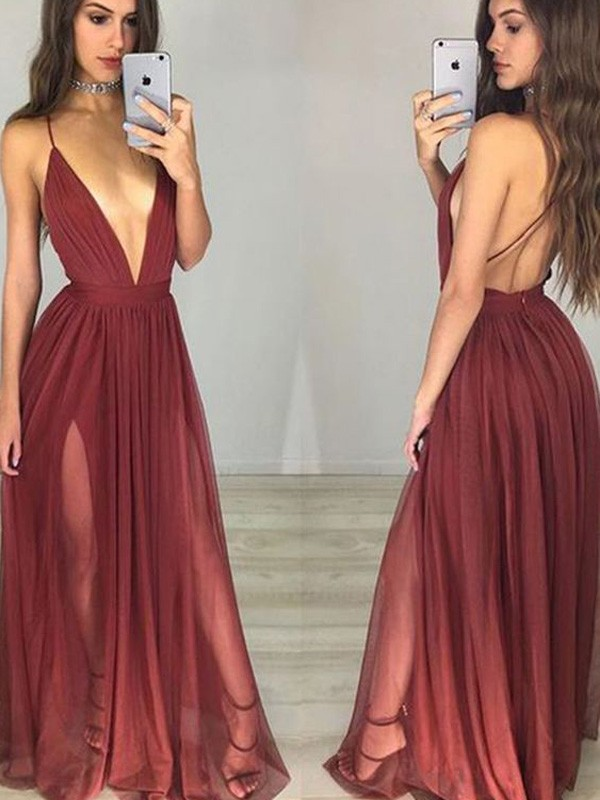 Stylish A-Line/Princess Spaghetti Straps Sleeveless Chiffon Floor-Length Ruched Dresses