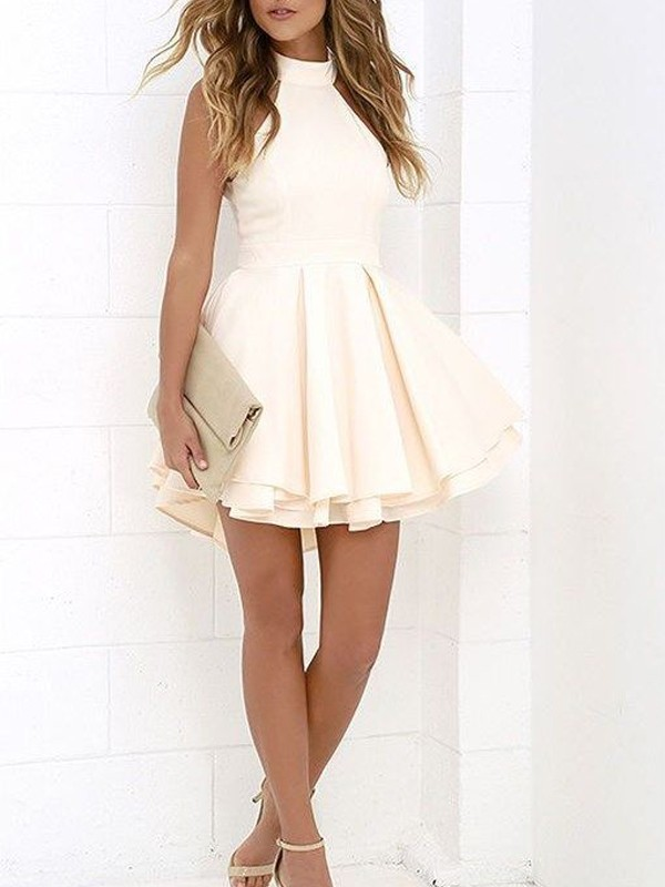 Stylish A-Line/Princess Halter Satin Sleeveless Short/Mini Dresses