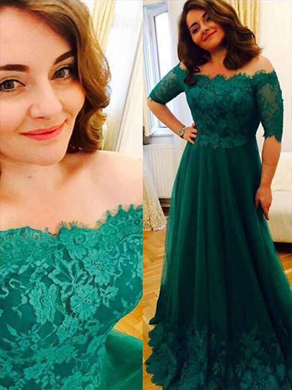Fashion A-Line/Princess Tulle Off-the-Shoulder Short Sleeves Applique Floor-Length Plus Size Dresses