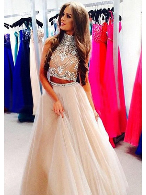 Fashion A-Line/Princess Sleeveless Beading High Neck Tulle Floor-Length Dresses
