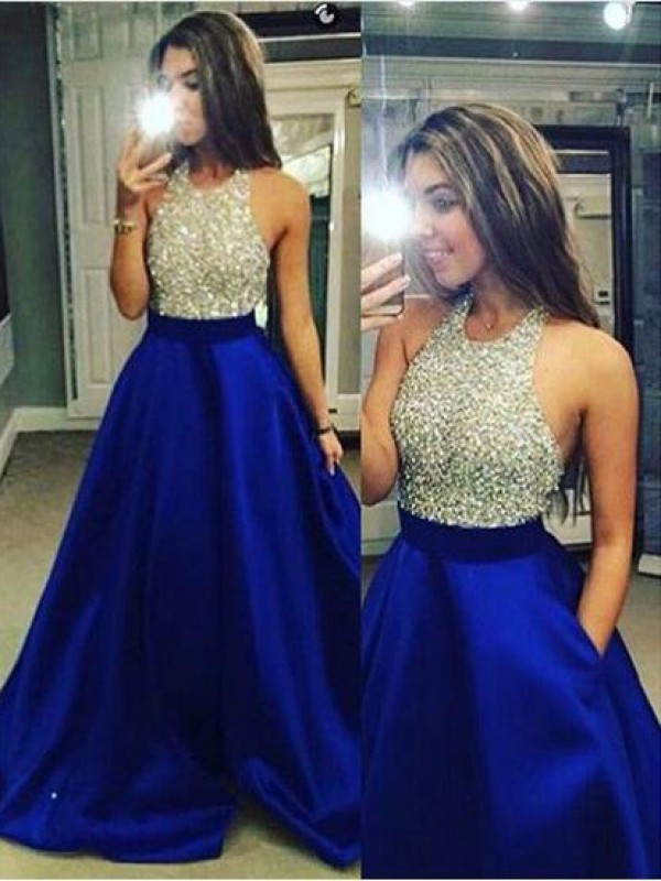 Stylish Ball Gown Jewel Crystal Sleeveless Satin Floor-Length Dresses