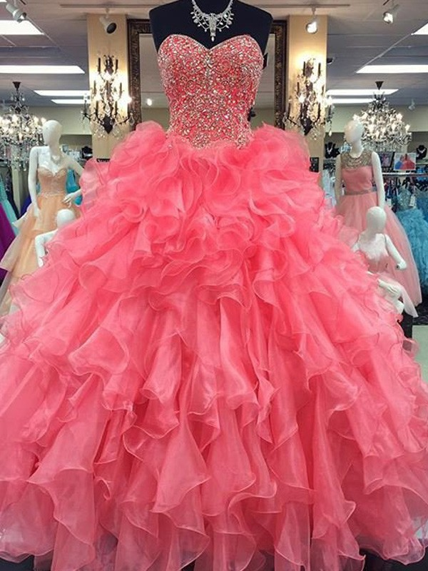 Fashion Ball Gown Sleeveless Floor-Length Sweetheart Beading Organza Dresses