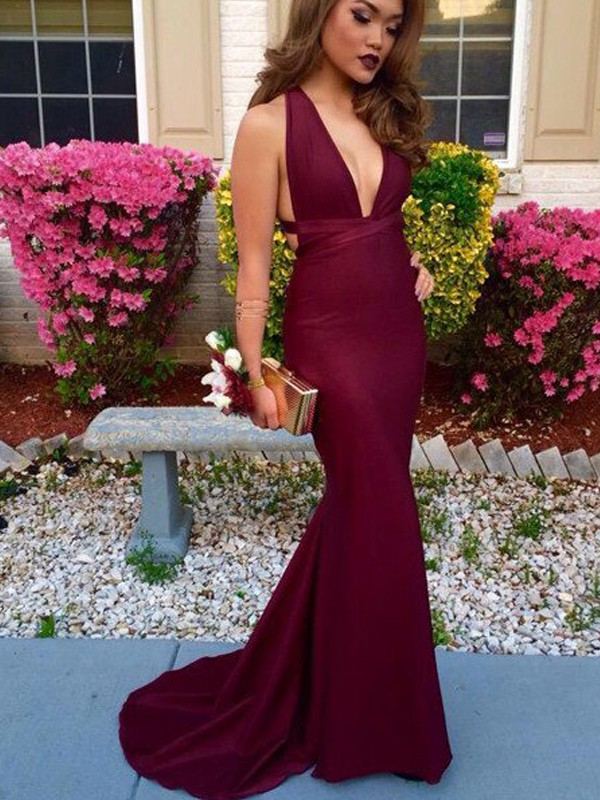 Stylish Trumpet/Mermaid Sleeveless Sweep/Brush V-Neck Train Spandex Dresses