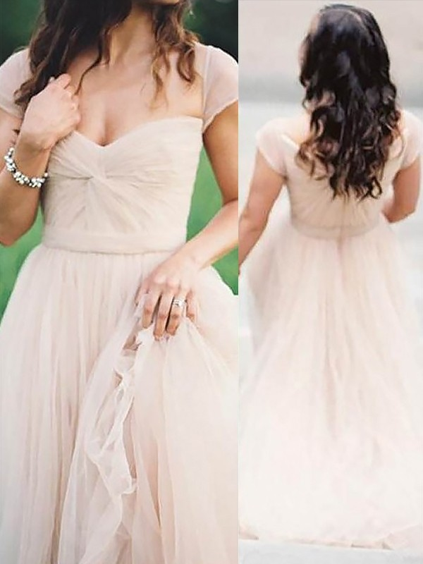 Stylish A-Line/Princess Sleeveless Floor-Length Sweetheart Ruched Chiffon Dresses