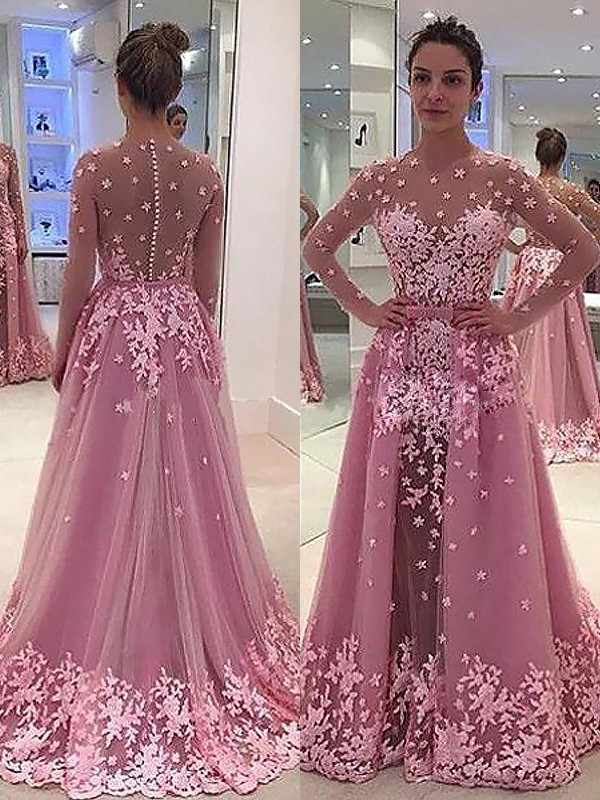 Fashion A-Line/Princess Long Sleeves Applique Scoop Tulle Floor-Length Dresses