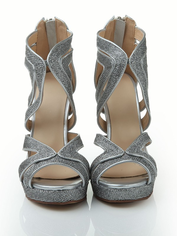 The Most Trendy Women's Stiletto Heel Peep Toe Elastic Leather Platform With Sequin Sandals Shoes