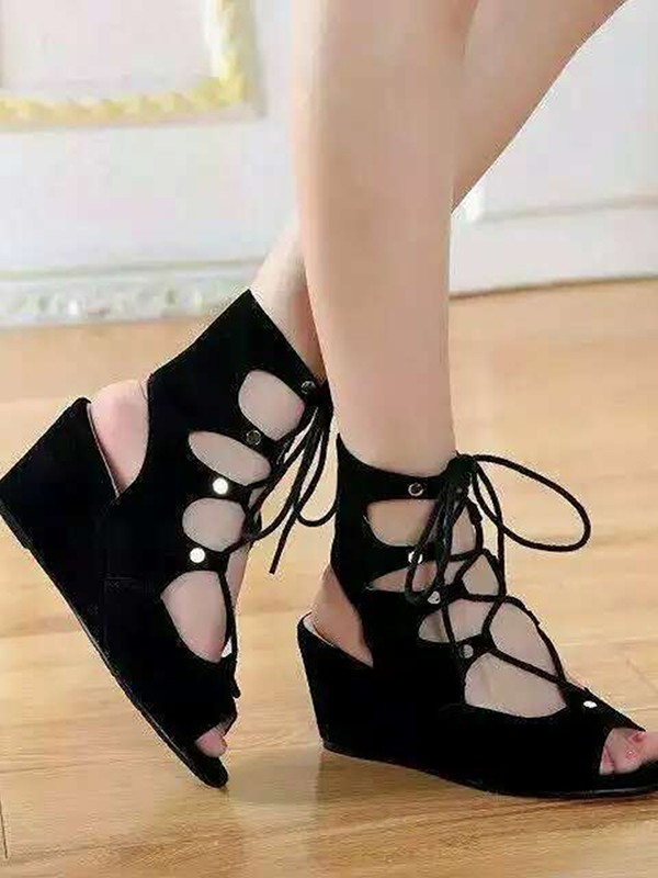 The Most Stylish Women's Suede Wedge Heel Peep Toe With Lace-up Sandal Ankle Black Boots