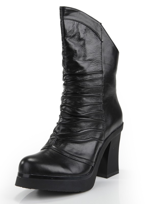 The Most Fashionable Women's Cattlehide Leather Chunky Heel Closed Toe With Ruched Mid-Calf Black Boots