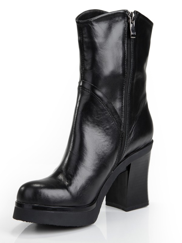 The Most Fashionable Women's Cattlehide Leather Chunky Heel Platform Closed Toe With Zipper Mid-Calf Black Boots