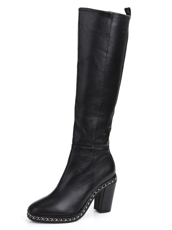 The Most Fashionable Women's Cattlehide Leather Chunky Heel Closed Toe With Chain Knee High Black Boots