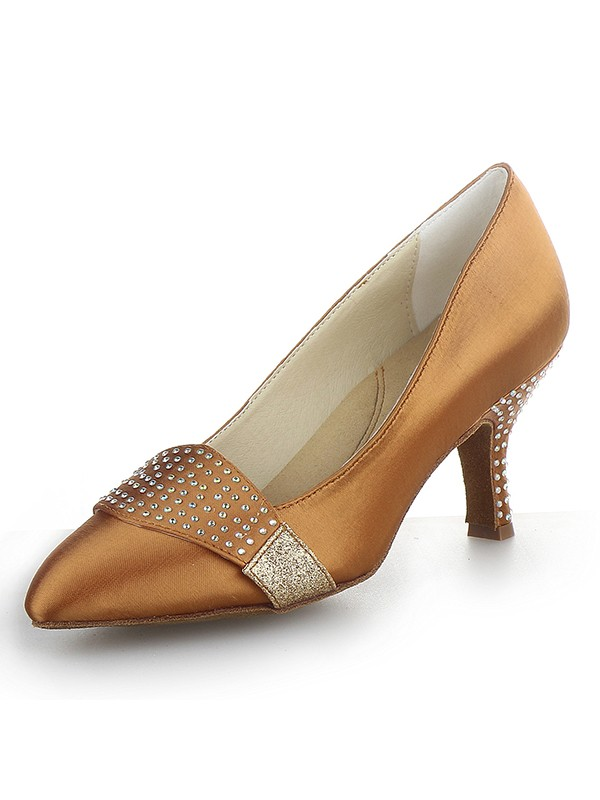 The Most Fashionable Women's Satin Closed Toe Cone Heel With Rhinestone High Heels