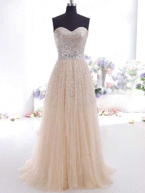 Fashion A-Line/Princess Tulle Sleeveless Sweetheart Sweep/Brush Train Dresses