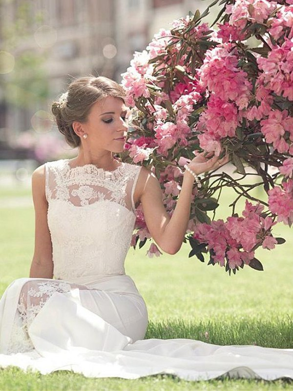 A-Line Bateau Sleeveless Sweep/Brush Train Lace Chiffon Wedding Dresses