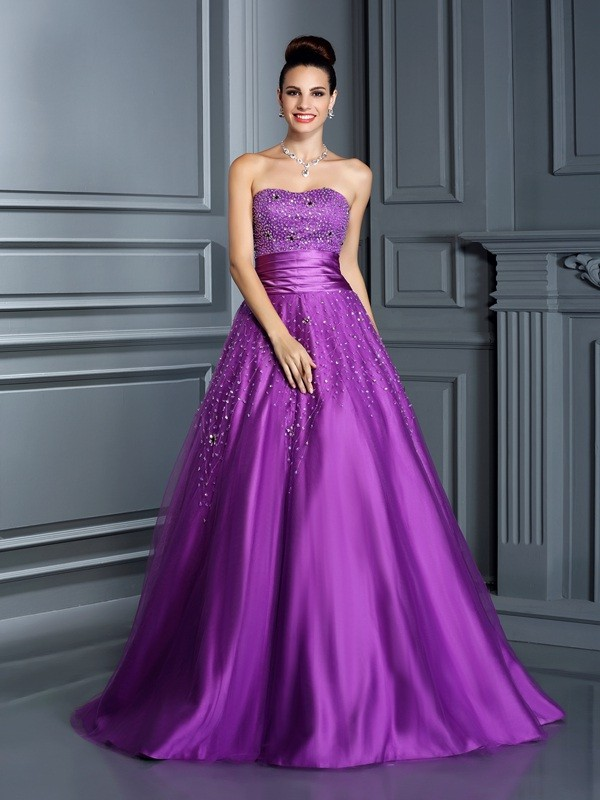 4d29d3822a4 Fashion Ball Gown Beading Sleeveless Sweetheart Long Satin Quinceanera  Dresses