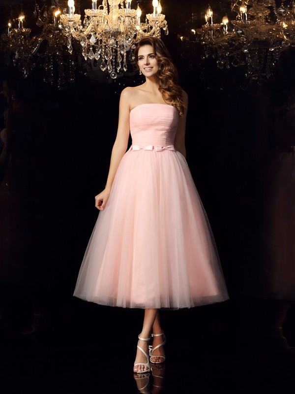 Stylish Ball Gown Sash/Ribbon/Belt Sleeveless Strapless Short Satin ...