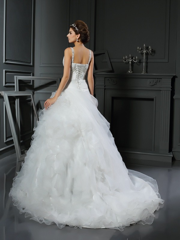 Stylish Ball Gown Ruffles Sleeveless V-neck Long Organza Wedding ...