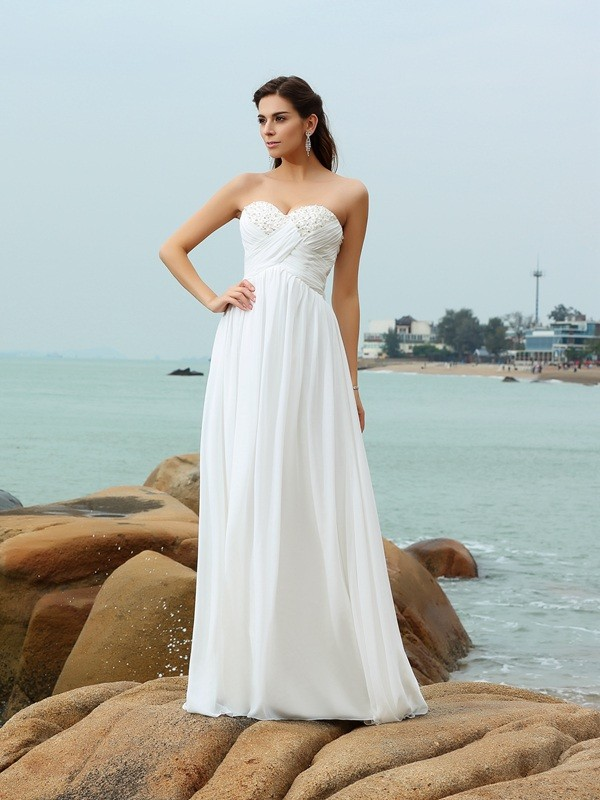 Stylish A-Line/Princess Beading Sleeveless Sweetheart Long Chiffon ...