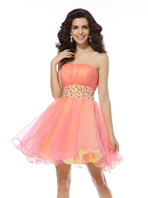 71994872f2df Fashion A-Line/Princess Beading Sleeveless Strapless Short Organza Cocktail  Dresses