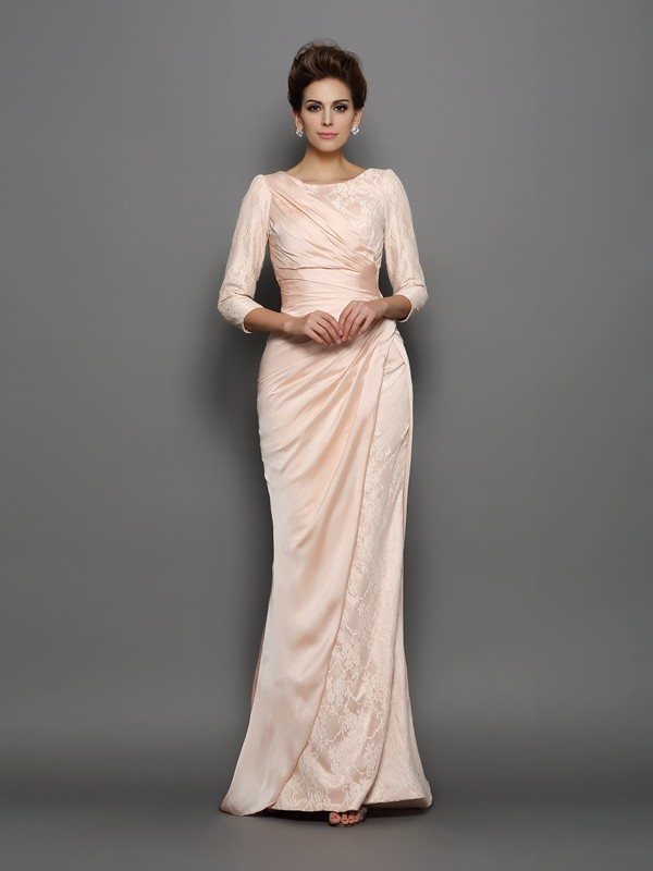 4166d1c2421 Fashion Trumpet Mermaid Lace 3 4 Sleeves Bateau Long Chiffon Mother of the  Bride