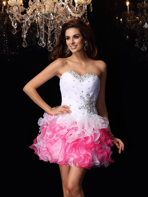 2f8ef8cdfc6 Stylish A-Line Princess Ruffles Sleeveless Sweetheart Short Organza  Cocktail Dresses