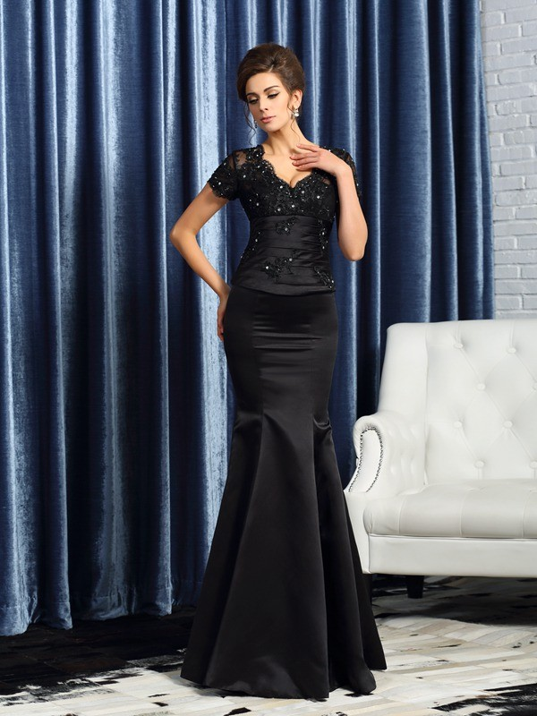 18d978bc38 Stylish Trumpet Mermaid Applique Short Sleeves V-neck Long Satin Mother of  the Bride