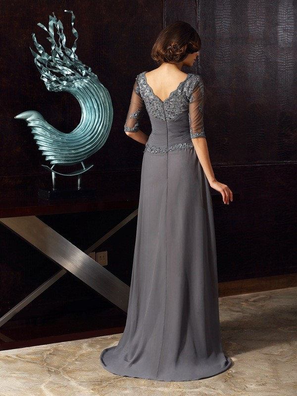 74c0320d1f16 Stylish A-Line/Princess Beading 1/2 Sleeves Scoop Long Chiffon Mother of  the Bride Dresses - JennyProm