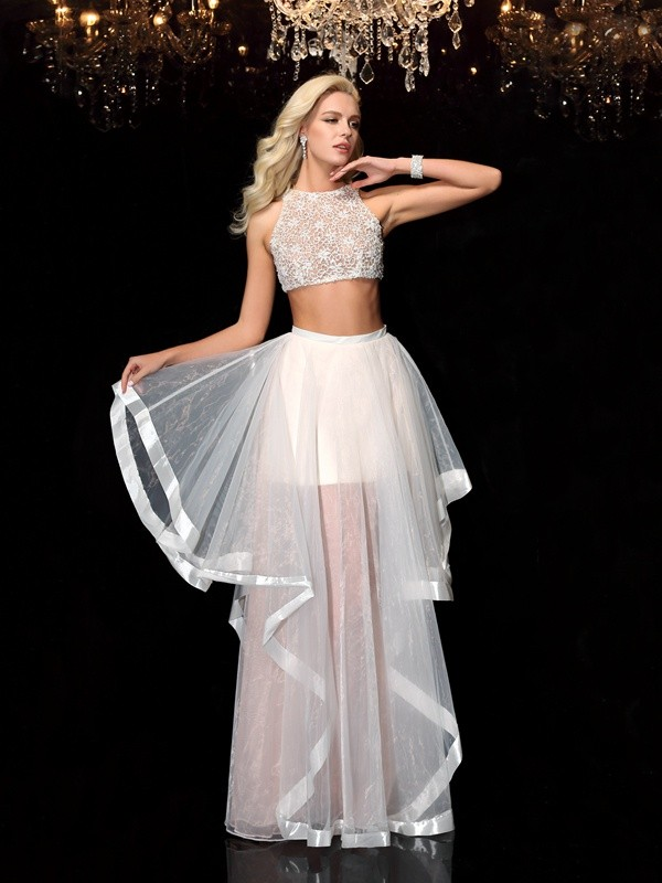 e6467ad799db Stylish A-Line/Princess Applique Sleeveless Scoop Long Tulle Two Piece  Dresses