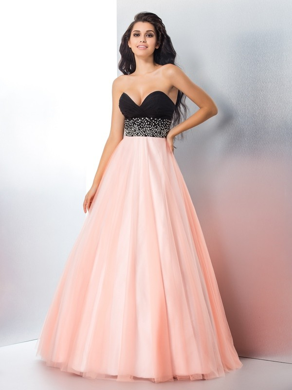 a8a3fa0cc415 Stylish Ball Gown Beading Sleeveless Sweetheart Long Satin Quinceanera  Dresses