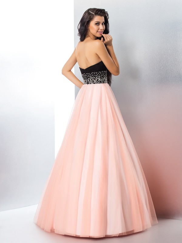 3ca0a146c04 Stylish Ball Gown Beading Sleeveless Sweetheart Long Satin Quinceanera  Dresses - JennyProm