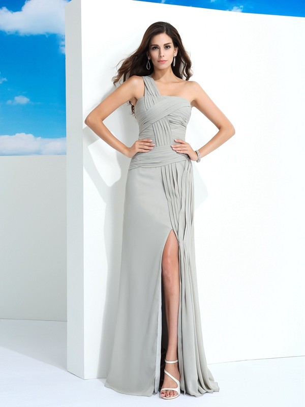 Fashion Sheath/Column Pleats Sleeveless One-Shoulder Long Chiffon ...