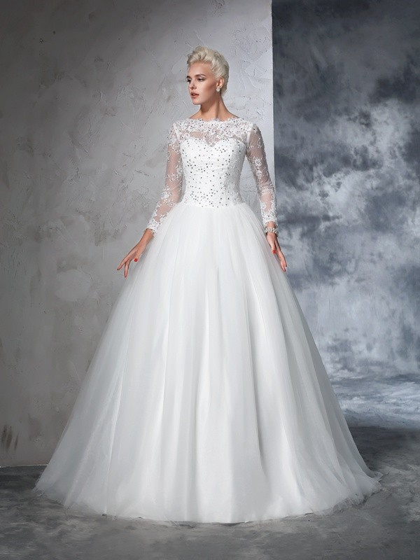 Stylish Ball Gown Lace Long Sleeves Bateau Long Net Wedding Dresses ...