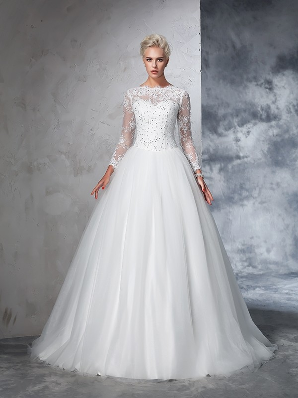 Stylish Ball Gown Lace Long Sleeves Bateau Long Net Wedding Dresses