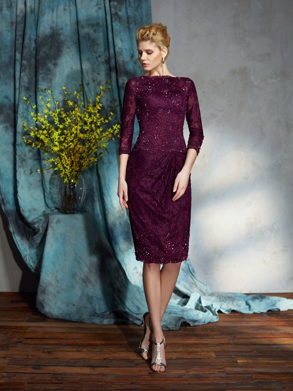 344bd50757 Fashion Sheath Column Lace 3 4 Sleeves Bateau Short Lace Mother of the Bride