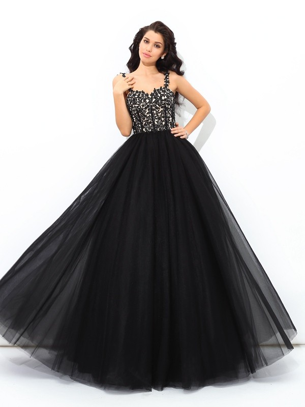 e542381af714 Stylish Ball Gown Applique Sleeveless Straps Long Net Quinceanera Dresses