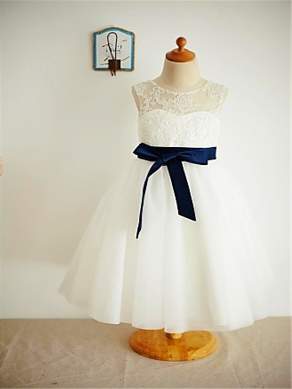 b6a6e9c77f A-line Princess Scoop Sleeveless Lace Ankle-Length Tulle Flower Girl Dresses