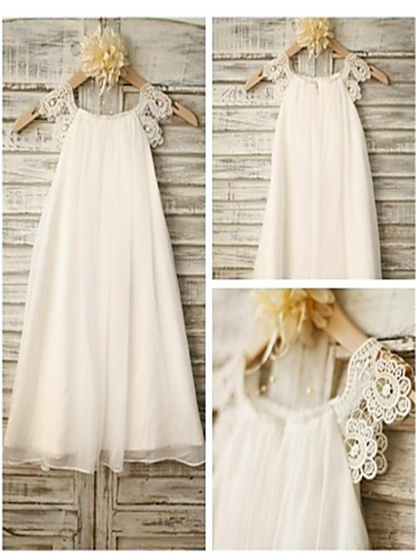 Fashion A Lineprincess Ankle Length Lace Sleeveless Scoop Chiffon