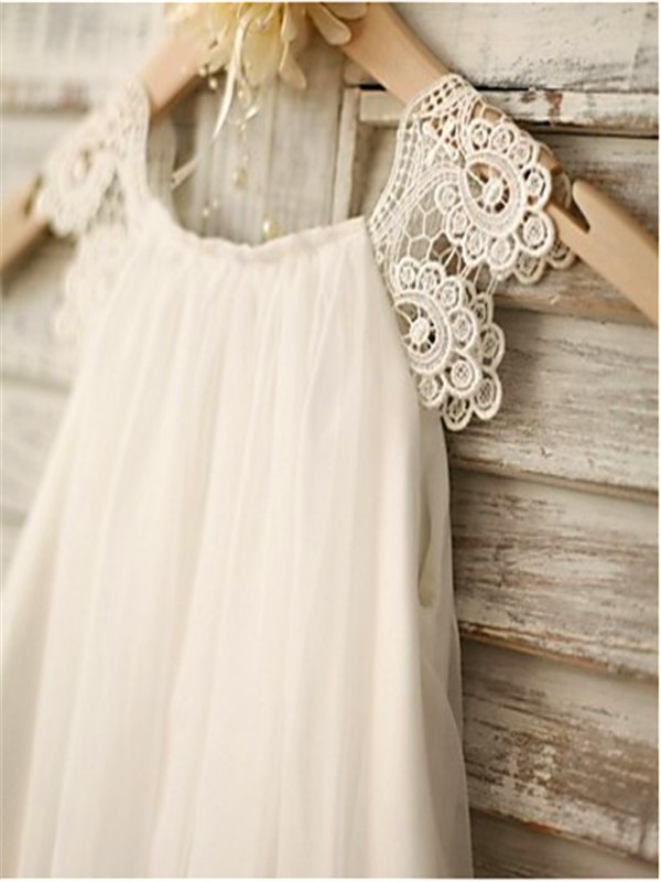 f25f4cadacd ... A-line Princess Scoop Sleeveless Lace Floor-Length Chiffon Flower Girl  Dresses ...