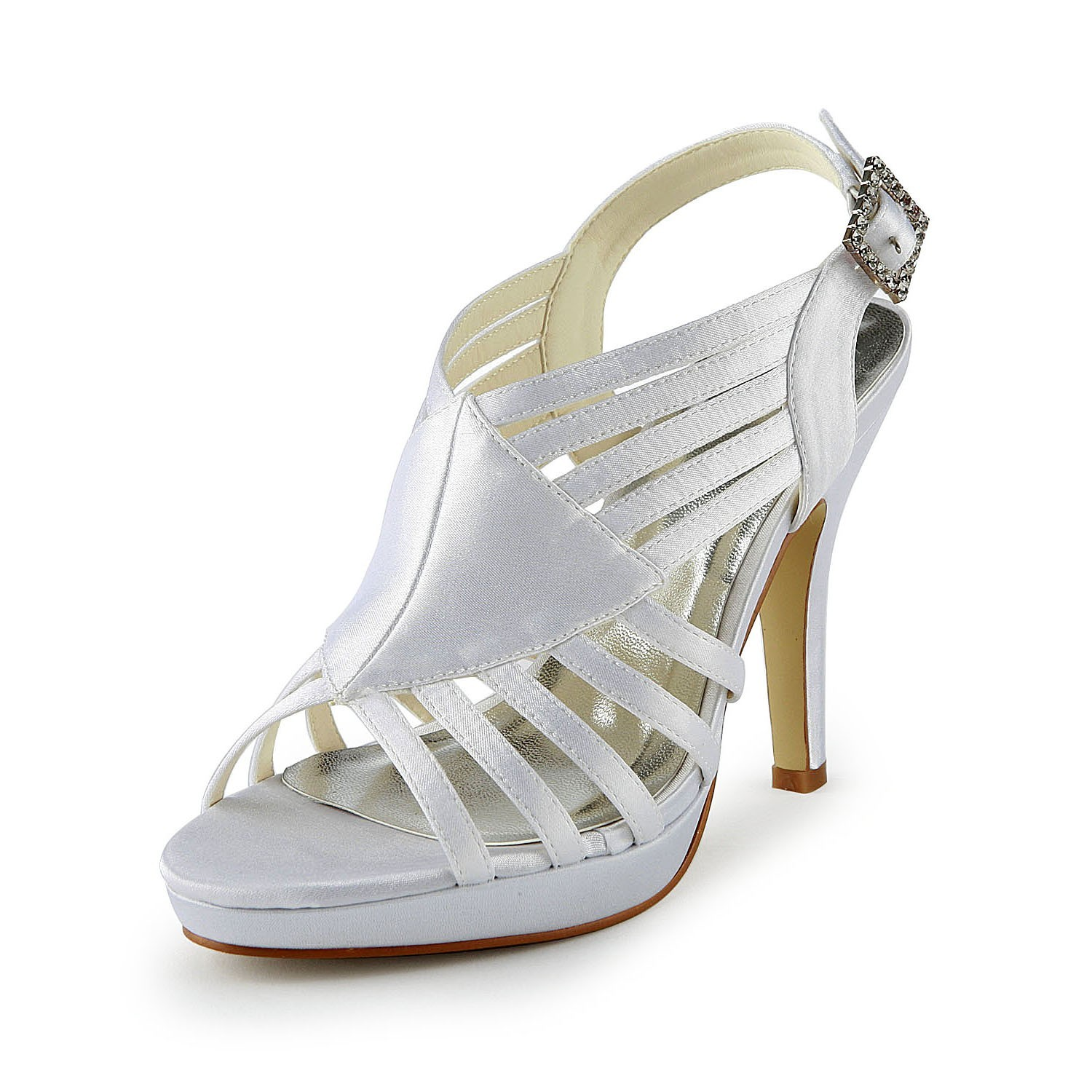 0b34b07112b3 The Most Fashionable Women s Gorgeous Satin Stiletto Heel Sandals With Buckle  White Wedding Shoes