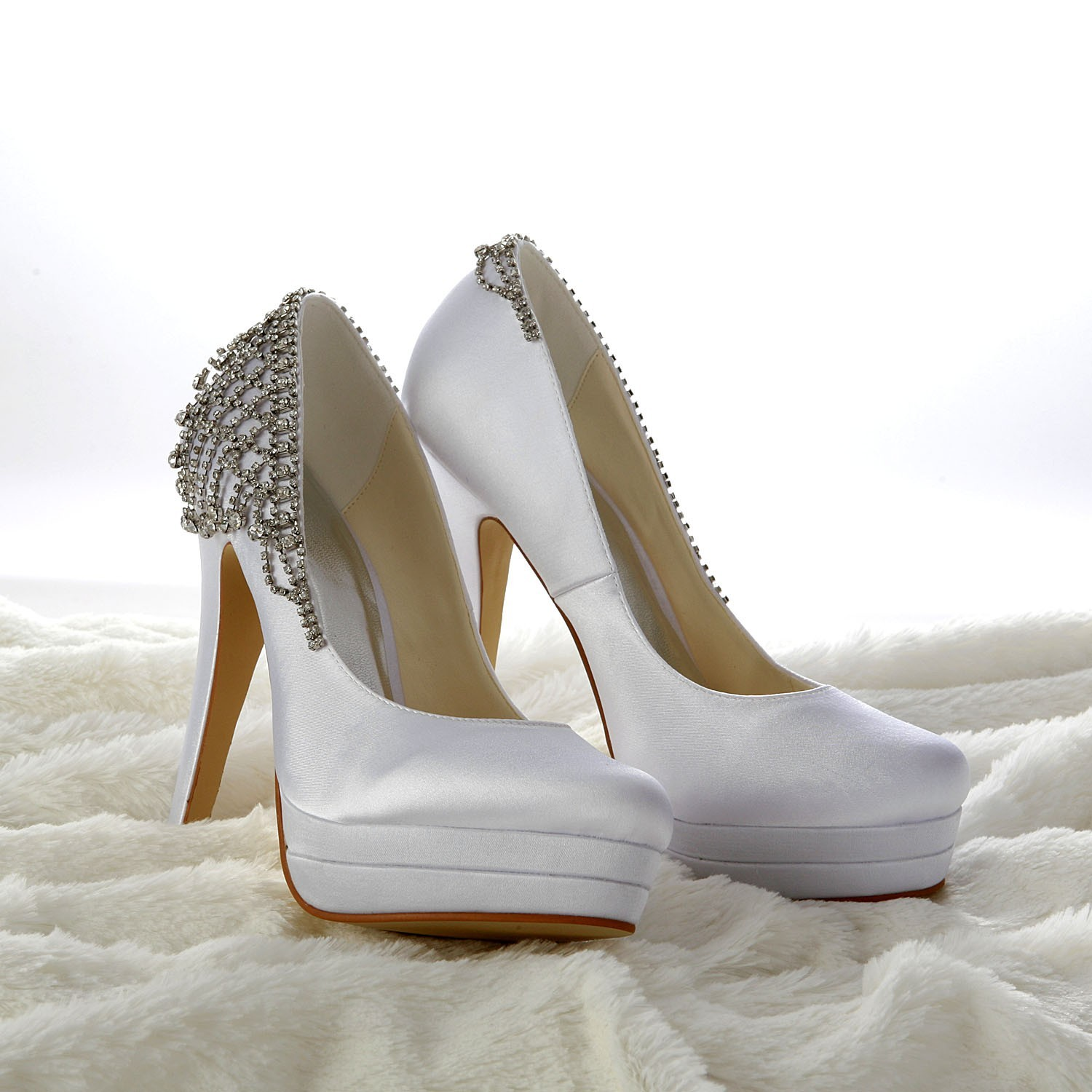 The Most Fashionable Women S Satin Stiletto Heel Closed Toe Platform White Wedding Shoes With Rhinestone