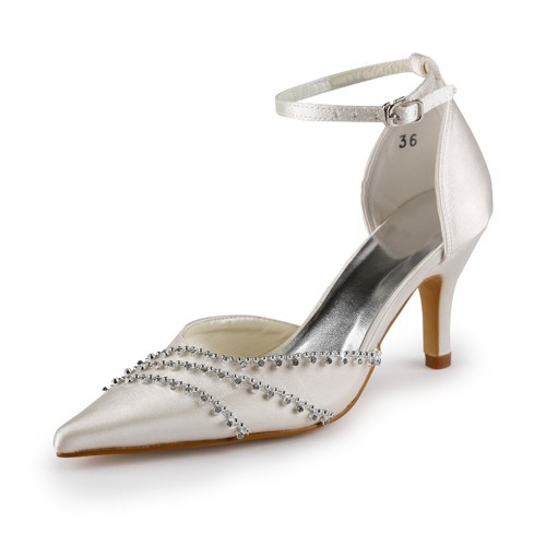 11342ec6256 The Most Fashionable Women s Nice Satin Stiletto Heel Closed Toe Champagne Wedding  Shoes With Buckle